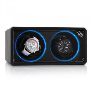 Image For 8LED2S porta orologi rotante nero effetto LED