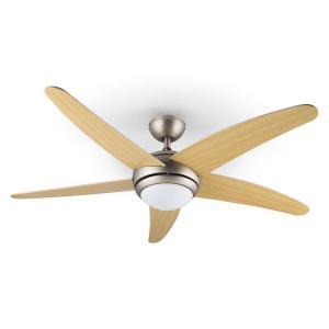 Bolero Ventilatore Soffitto 134 cm Lampadine 55W Pale Acero