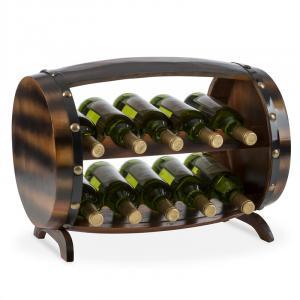 Image For Barrica Armadio per Vino in Legno Botte Portabottiglie 10 Bottiglie Abete Rosso