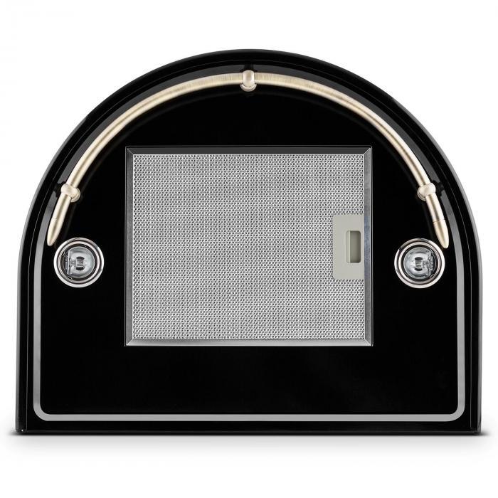 noir retro cappa aspirante acciaio inox nera 430 m h. Black Bedroom Furniture Sets. Home Design Ideas