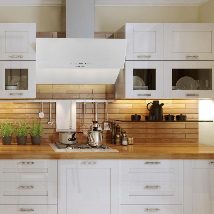 rgl90wh cappa di aspirazione 90cm 550m h vetro bianca bianco 90 klarstein. Black Bedroom Furniture Sets. Home Design Ideas